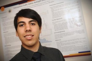 Javier Garcia-Mendoza, a New Mexico State University industrial engineering student, will be one of more than 80 undergraduate students participating in the Undergraduate Research and Creative Arts Symposium on Friday, April 25. (NMSU photo by Darren Phillips)