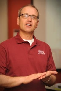 NMSU physics professor Stefan Zollner speaks at a research rally event on campus. (Photo by Darren Phillips)